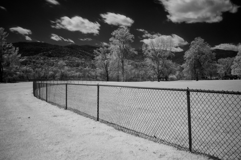 Monochrome IR photo. I liked the visual element of the curved line formed by the fence.