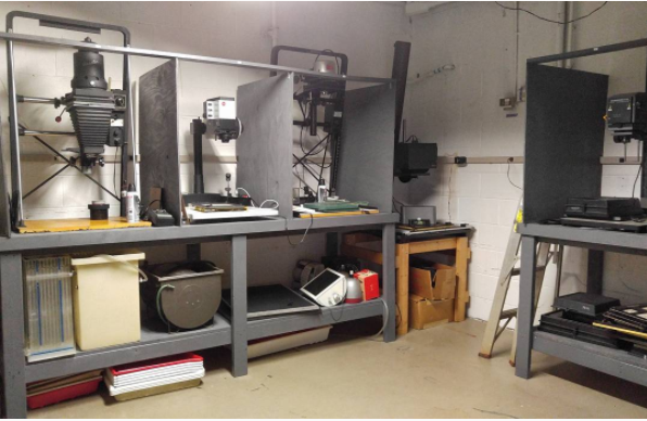 A few of the enlargers set up for use at the Knoxville Community Darkroom.