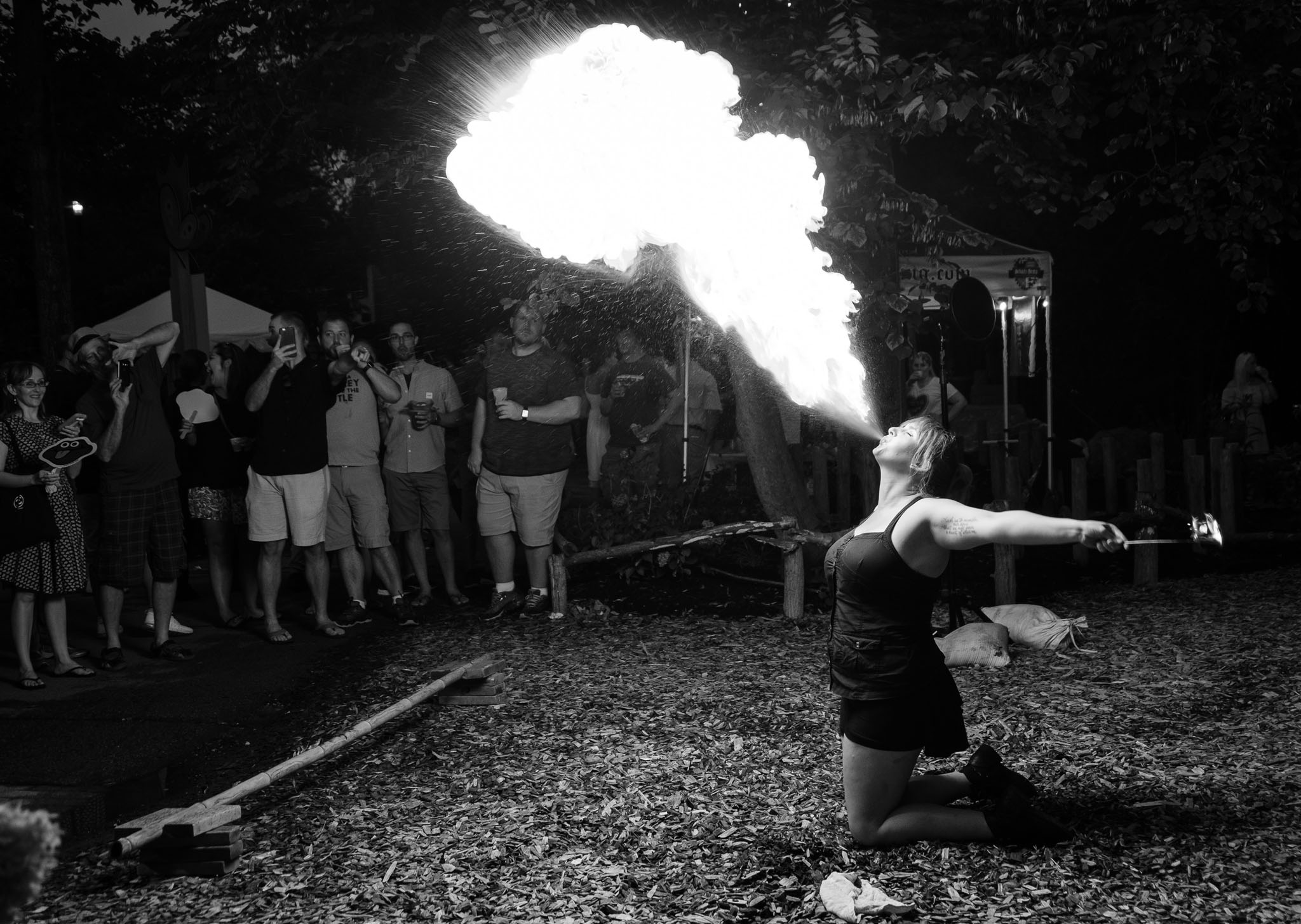Independent Fire Performer, Meghan Stiles, delighting an audience with her prowess.