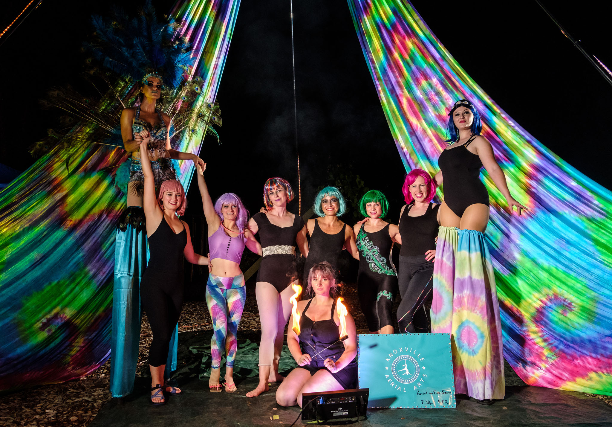 Independent performer, Angel Noble (far left), towered above the other performers on her stilts.