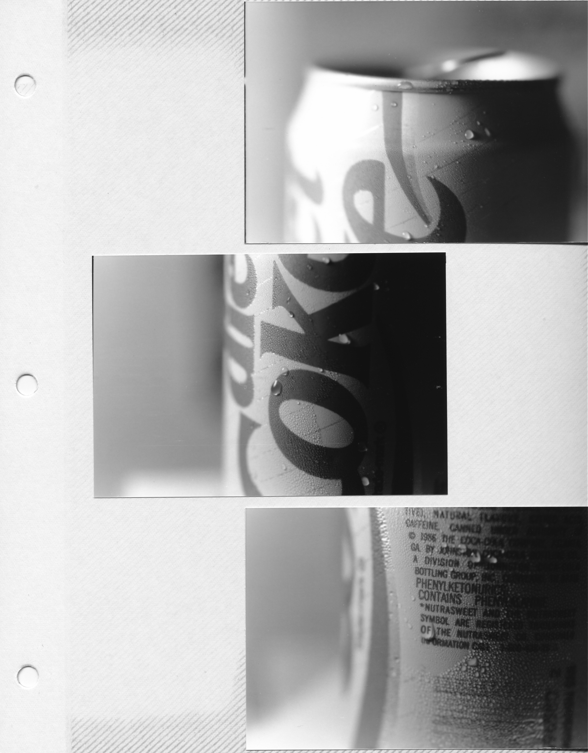 A page straight from an old photo album. This dates back to around 1989. I have no idea what exactly I was going for here, but I was obviously having fun with offsetting closeups of the soda can.