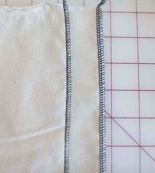 Left: 3-thread overlock stitch; Right: 4-thread overlock stitch