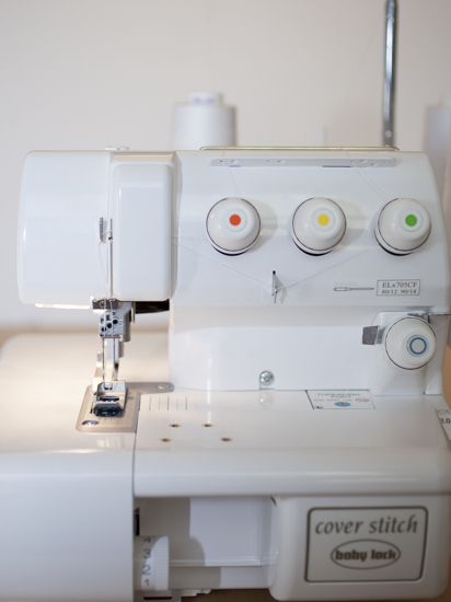 Baby Lock's Cover Stitch Machine all threaded and ready to go.