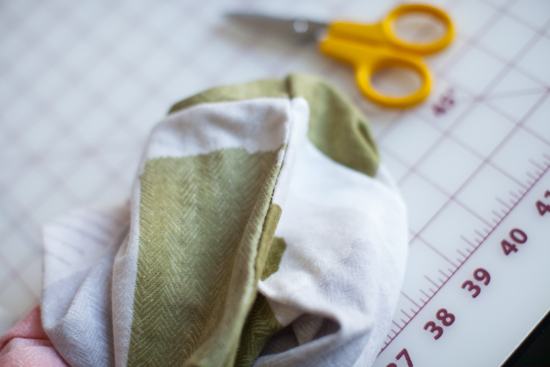 Slip stitched the opening closed.