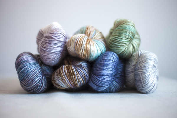 Colors (clockwise from top left): Ghost, Opalite, Sage, Crystal, Petrol, Unforgiven, Concrete