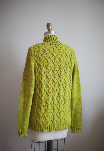BARTLETT (back view), knit in The Plucky Knitter Snug Worsted, color - Prickly Pear