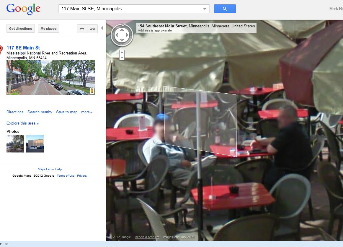 Google Streetview of our Lunch