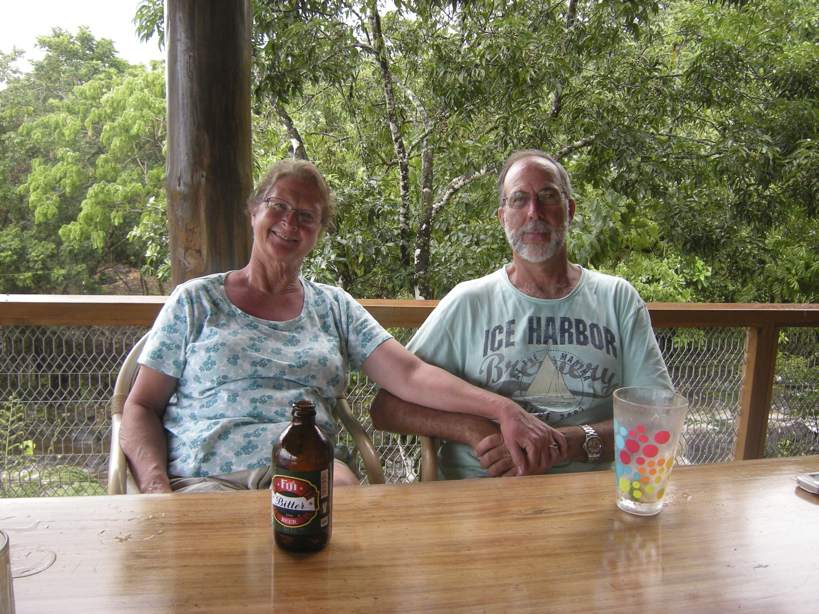 Carl and Muriel Fox, the owners of Taveuni Dive enjoying a sundowner at the end of a long day making sure our guests had a great time.