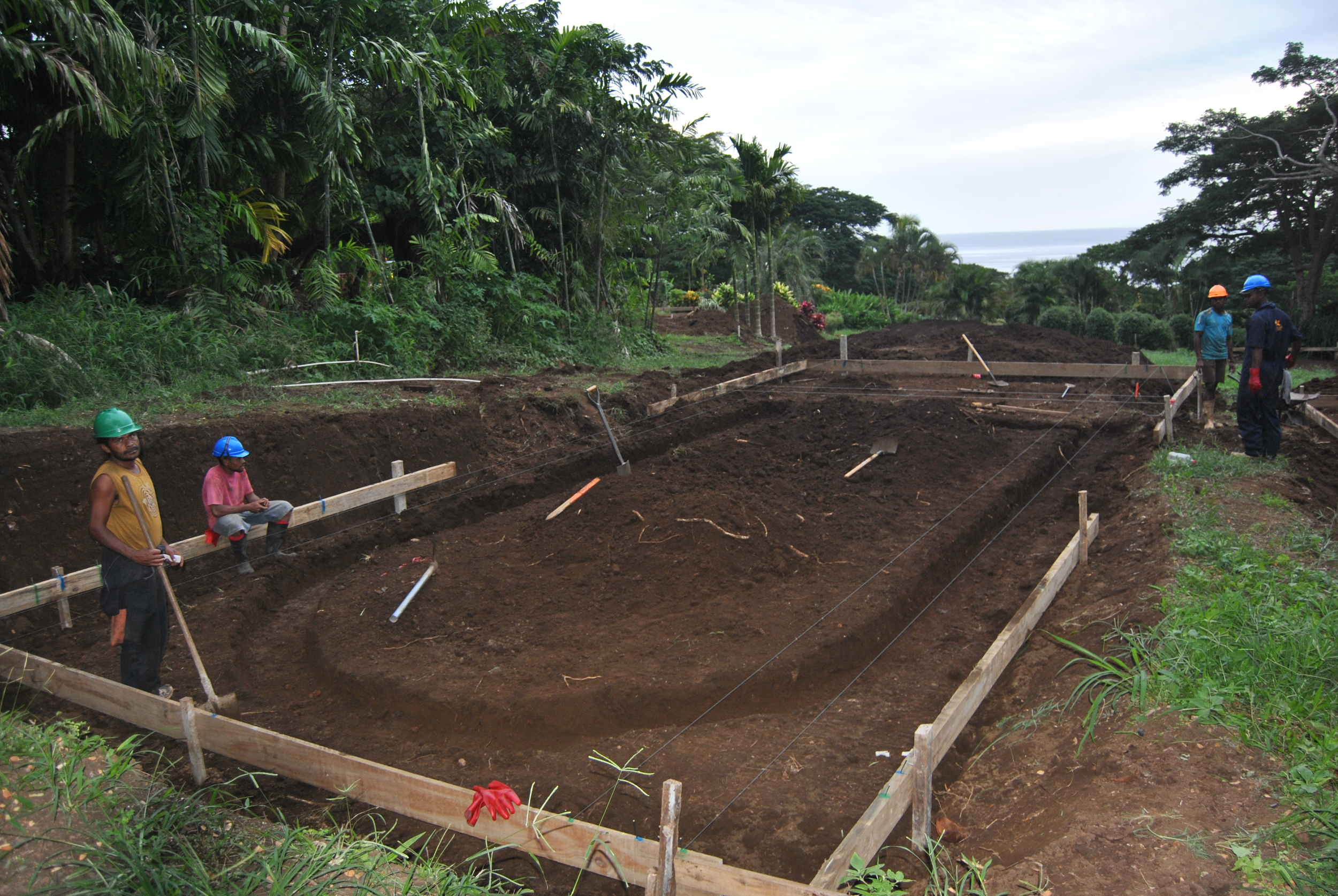 Footers on bure number 3 are excavated.