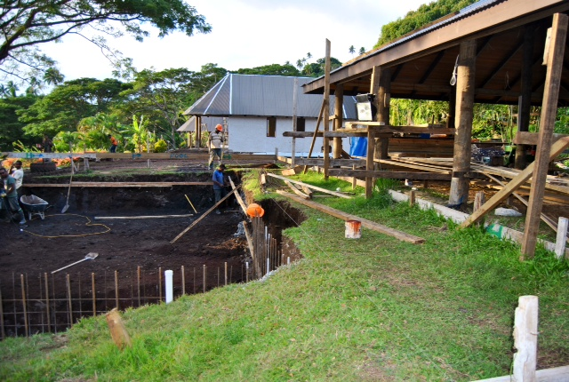 Once we removed the lava flow, the crew began forming up the rebar and iron for the walls.  Notice how nice and close the pool is to the resturant?