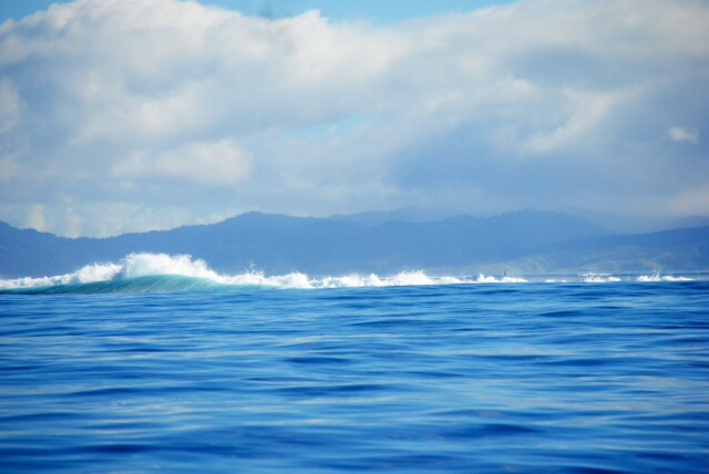 Waves breaking over the reef at Vuna