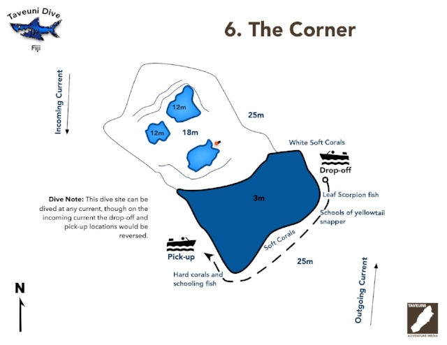 Dive Map for the Corner      Return to Dive Sites