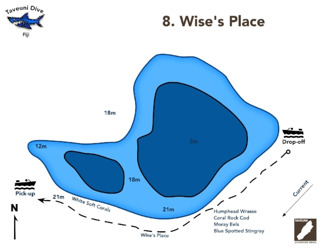 Wise's Place Dive Map      Return to Dive Sites