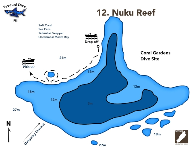 Dive Map for Nuku's Reef    | Return to Dive Sites