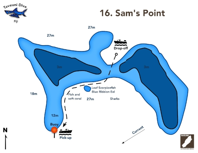 Sam's Point Dive Map      Return to Dive Sites
