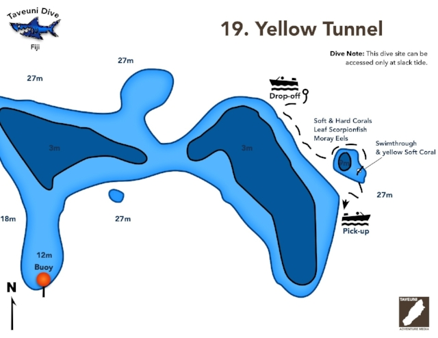 Yellow Tunnel Dive Map      Return to Dive Sites