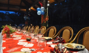The tables at the Salty Fox set for an evening with the Fijian Prime Minister