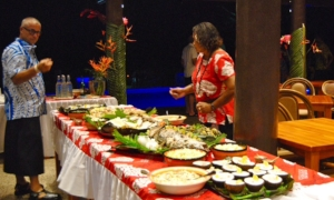 Jon, the Resort Manager checking on the food