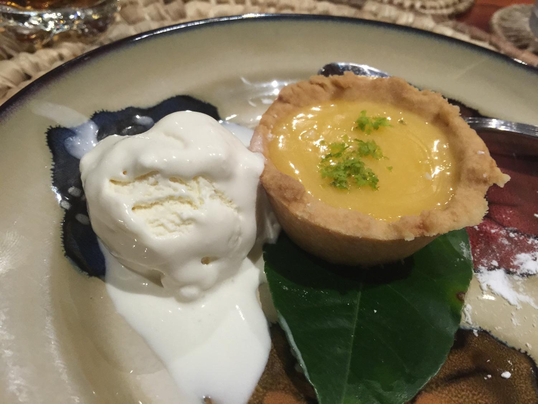 Ice cream and lemon tart