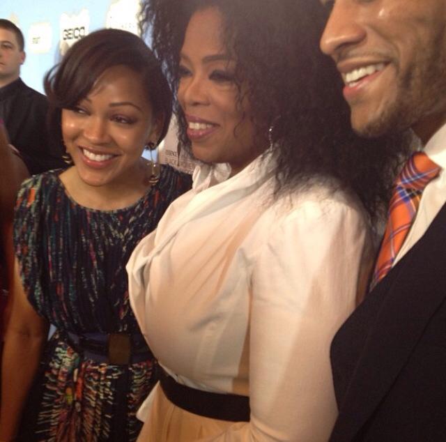 Oprah with Meagan Good and Devon Franklin!