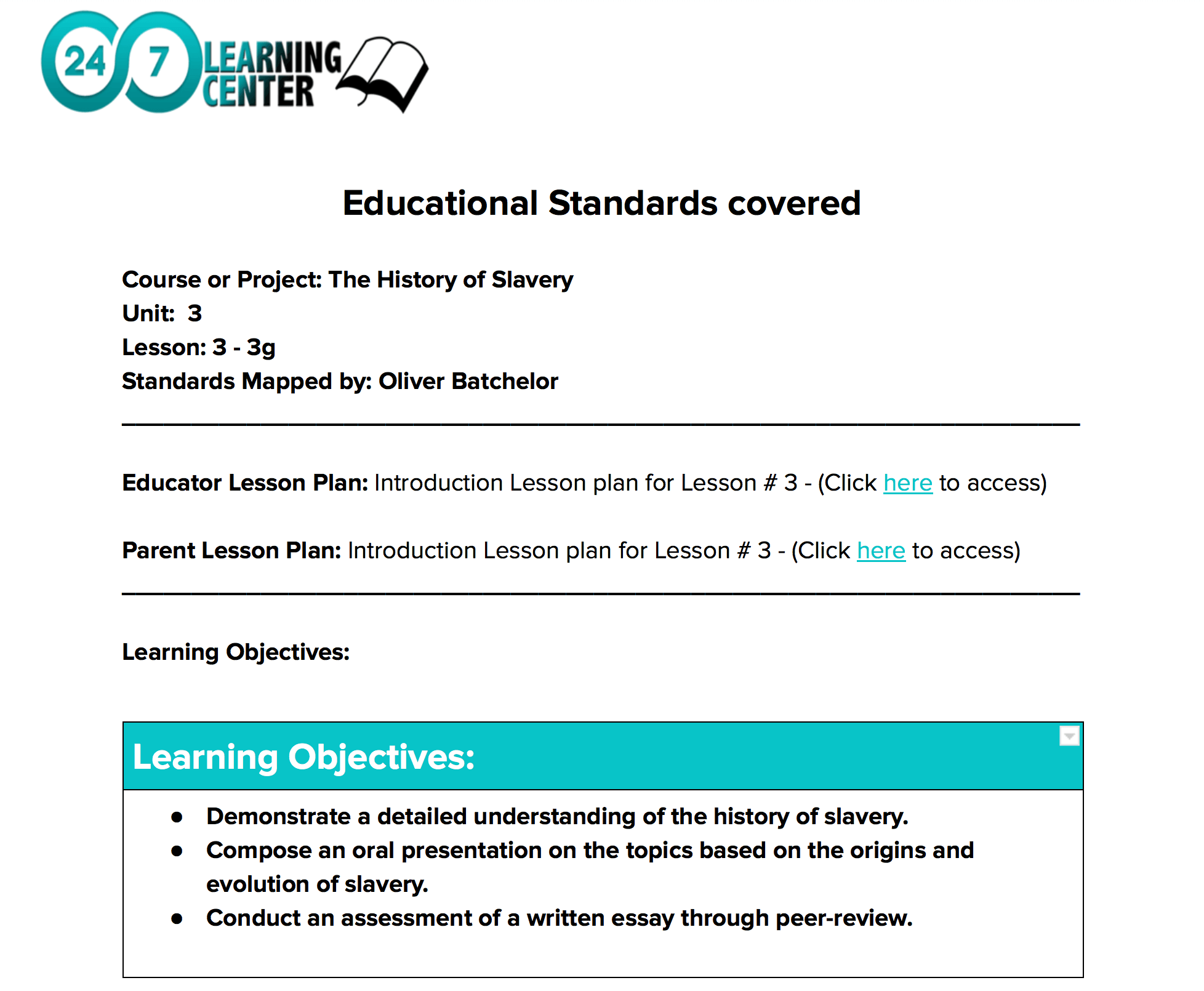 PARENT LESSON PLANS AND SUPPORT - Designed to allow you to easily support your Learner's with their projects