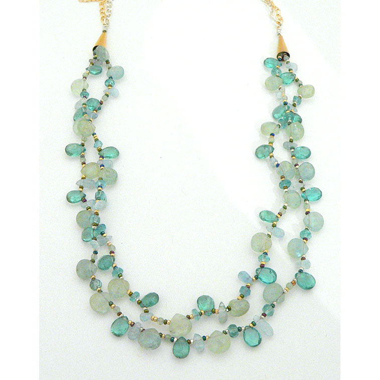 Aqua and Apatite necklace by Pat Hartman