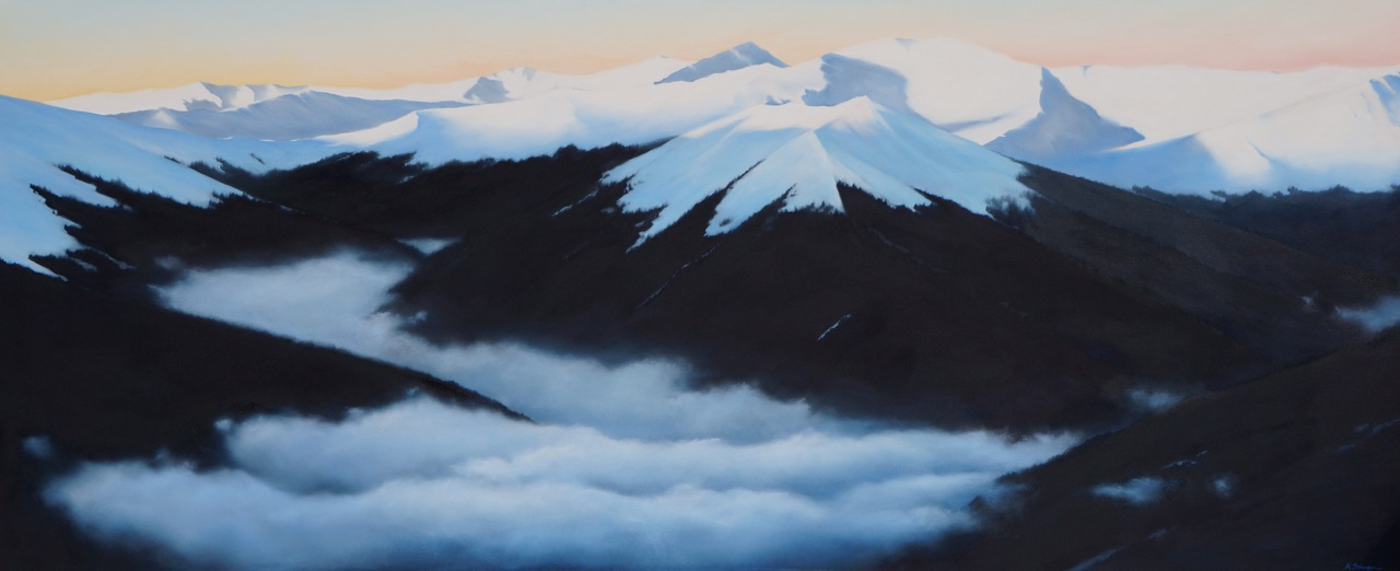 """Down in the Valley oil on canvas 30"""" x 72"""""""