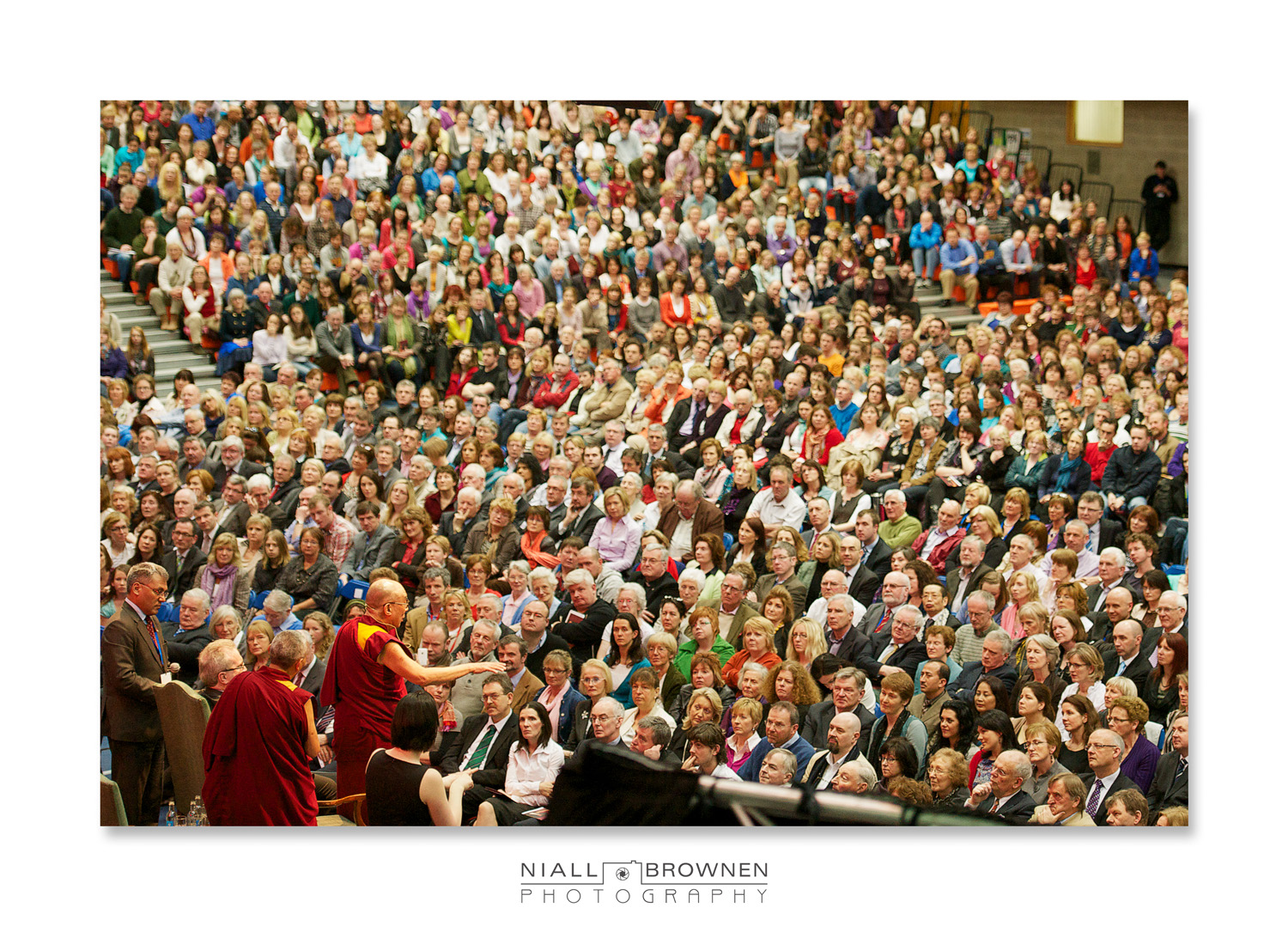 The Dalai Lama spoke about The Power of Forgiveness for about 90 mins, and stayed standing the entire time. If memory serves me right, he was 75 years old at the time.