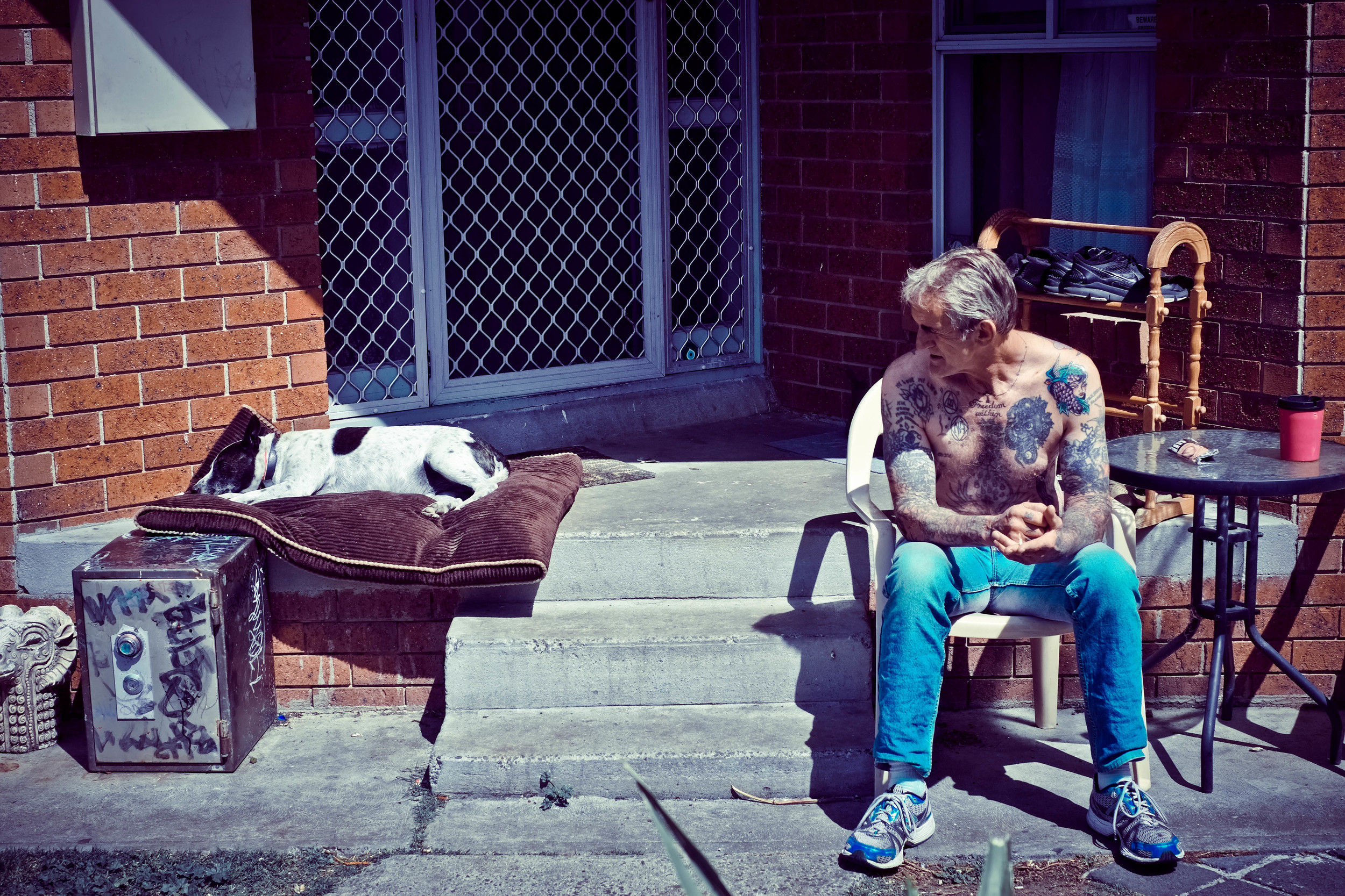 Johnny 'Halves' with his dog, Dylan.