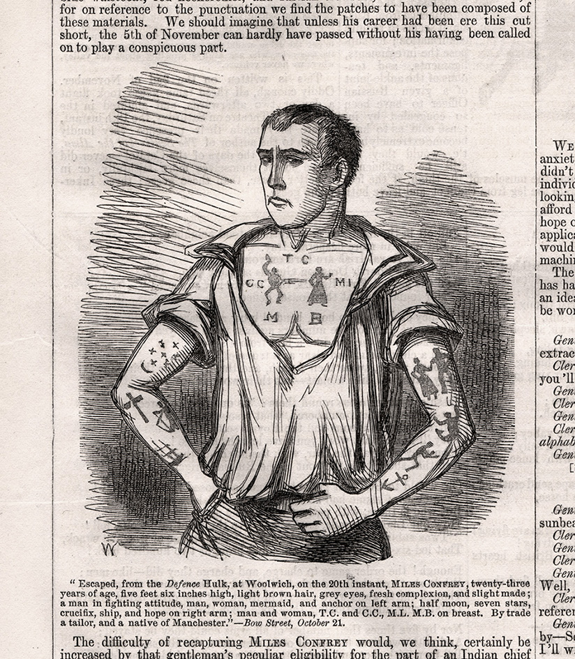 An illustration of convict absconder Miles Confrey. Picture: Convict Tattoos: Marked Men and Women of Australia