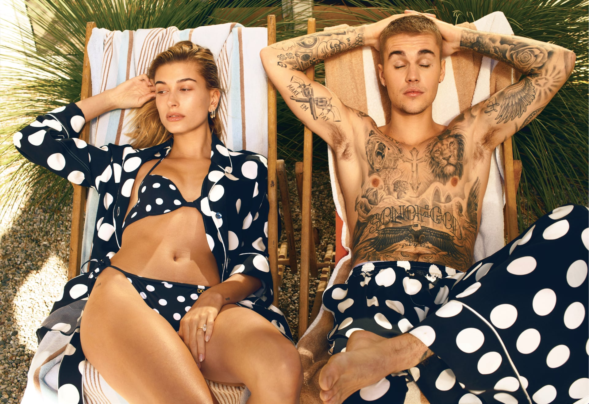 Justin Bieber and Hailey nee Baldwin Bieber on the March 2019 of US Vogue. Photograph: Annie Leibovitz/AmericanVogue.com