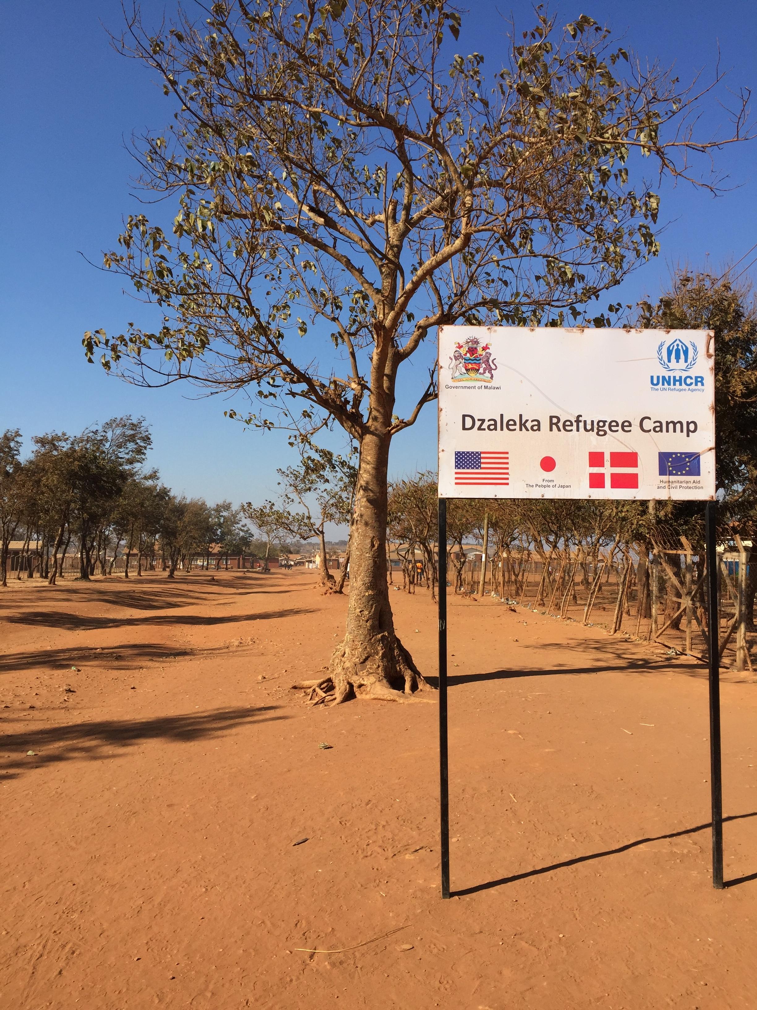Entry to Dzaleka refugee camp, Malawi.