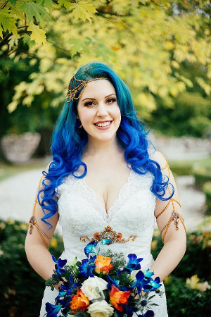 21 Rad Brides Who Rocked Their Colorful Hair Like A Boss.    Colors of the rainbow adorn the heads of these brides.