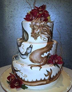 Awesome Dragon Wedding Cake Designs.    Unique designs for your wedding cake.