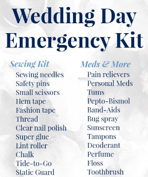 There are always items you will need in an emergency and your wedding day is no exception. Take a look at important items that you should include in your kit.
