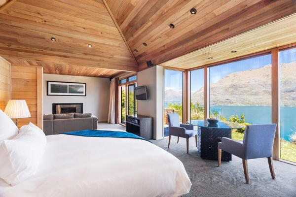 Villa Suite Bedroom through to lounge area, at the Azur, Queenstown.