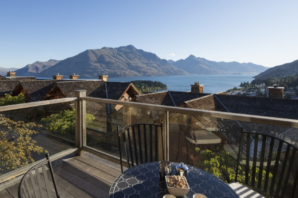 Balcony overlooking the lake at the Commonage Villas, Queenstown, New Zealand.