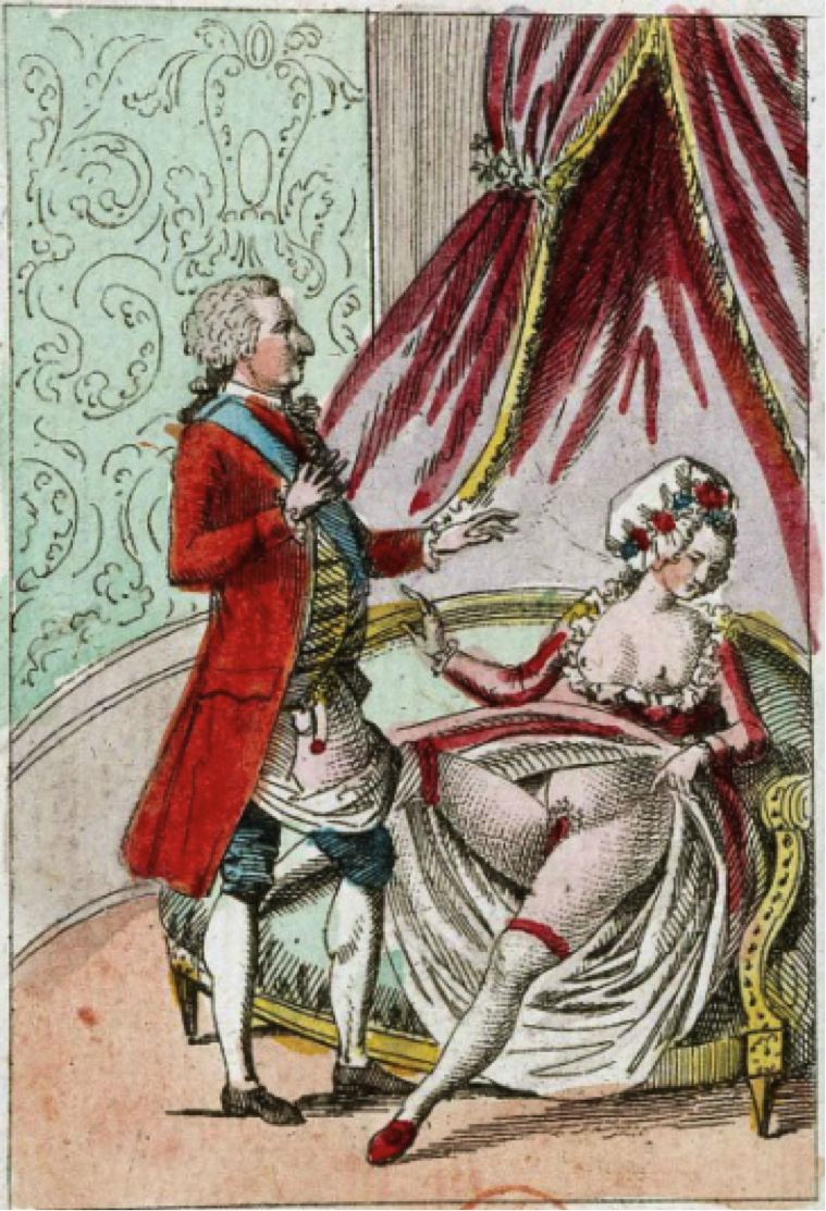 Figure 3. A despondent Marie Antionette waves away a flaccid Louis XVI. From Bibliotheque Nationale de France. Accessed at    http://www.sabotagetimes.com/travel/the-biggest-porn-stash-in-the-world/