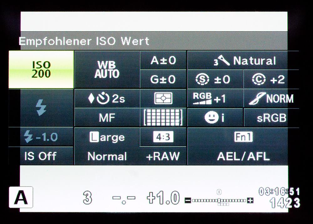 Das Olympus SCP (Super Control Panel): Alle relevanten Einstellungen auf dem Bildschirm