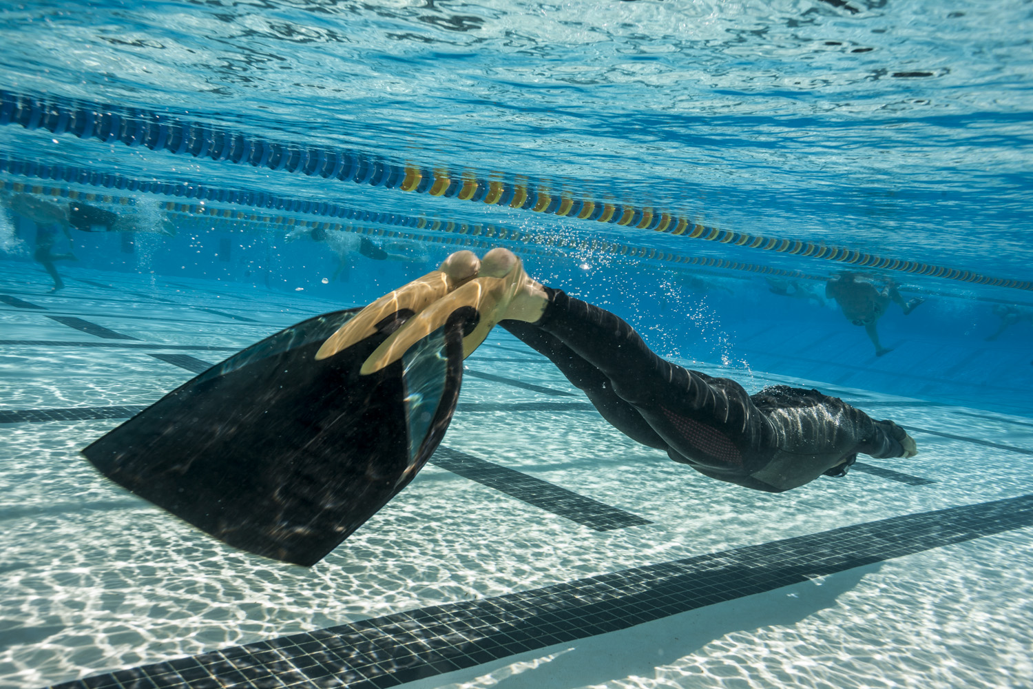 Freediver training with monofin.