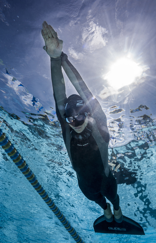 Freediver training in pool.