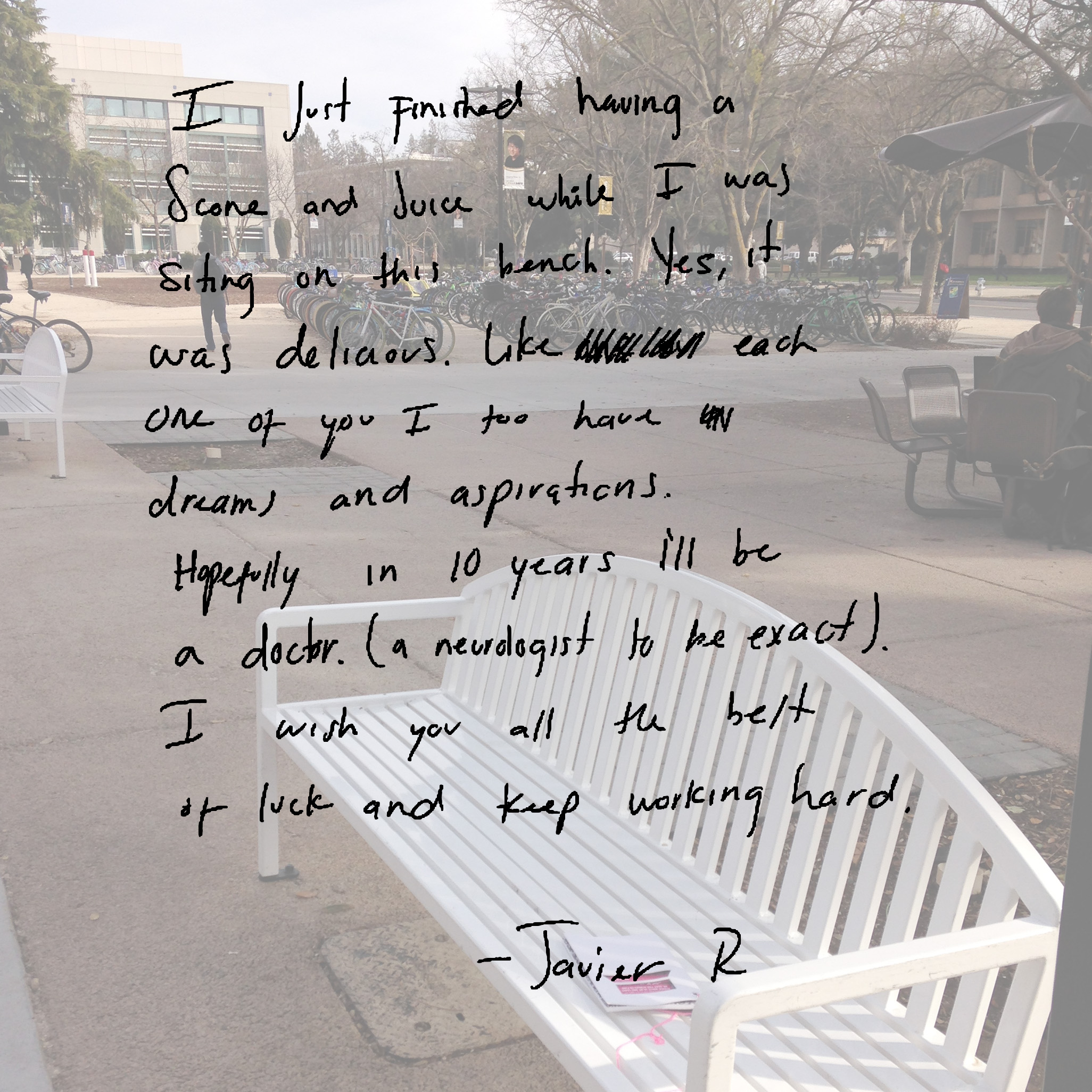 I just finished having a scone and juice while I was sitting on this bench. Yes, it was delicious. Like each one of you I too have dreams and aspirations. Hopefully in 10 years I'll be a doctor (a neurologist to be exact). I wish you all the best of luck and keep working hard.   -Javier R
