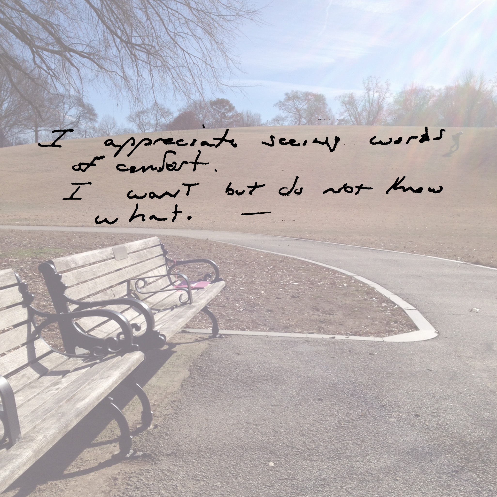 I appreciate seeing words of comfort. I want but do not know what.