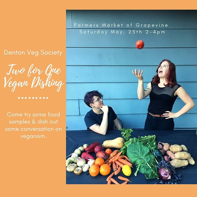 My lovely twin @poindexter_thefoodnerd and I run a vegan society in Denton @dentonvegsociety and tomorrow we are partnering with @farmersmarketgrapevine to bring information about veganism and demo how to make taco meat out of mushrooms and walnuts. Event is come and go or join us afterwards at @armadilloaleworks for a vegan potluck to meet your local vegan community.