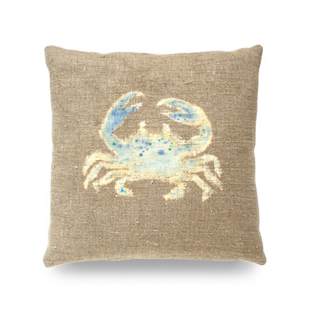 Hand Painted Crab Pillow