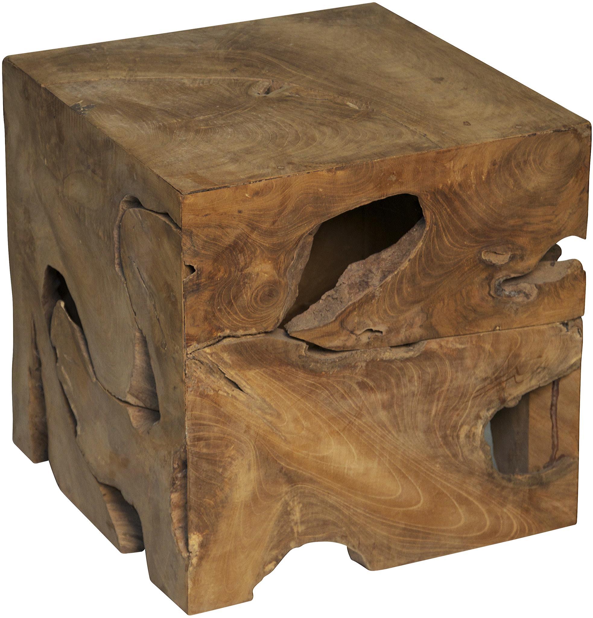 Teak Cube Side Table