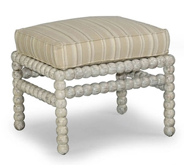 White Washed Pearled Ottoman