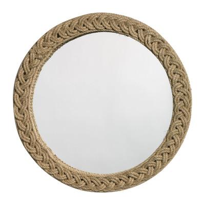 Round Braided Jute Mirror