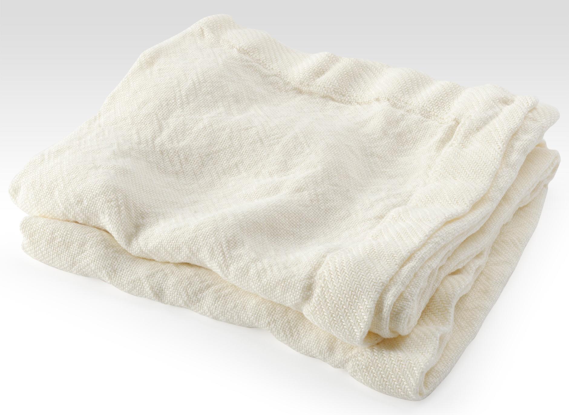 Cream Linen Flat Weave Throw