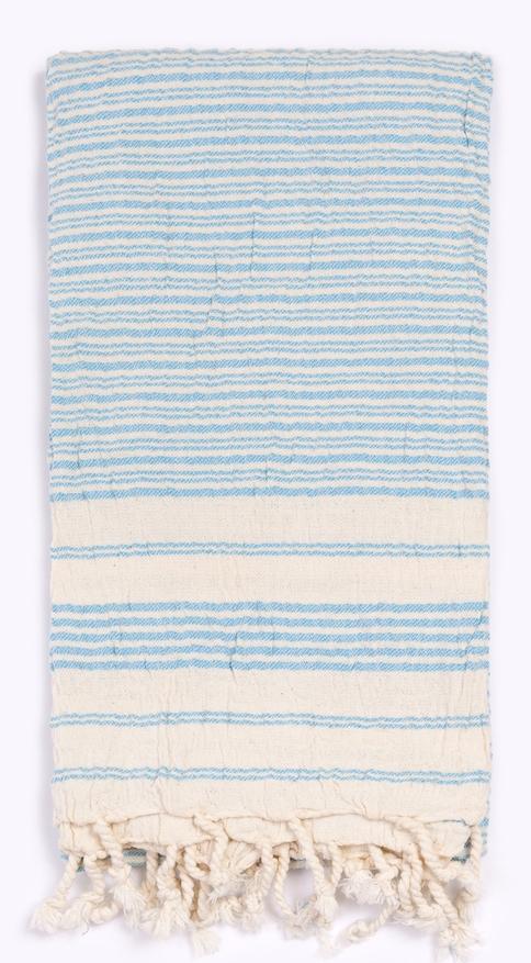 Blue Striped Turkish Towel